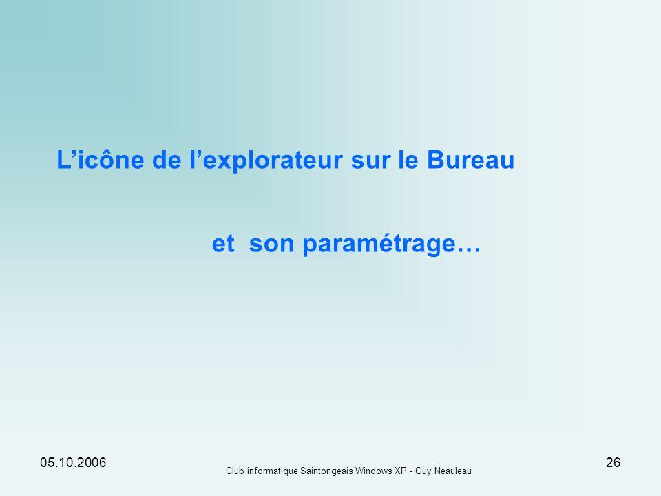 05.10.2006 Club informatique Saintongeais Windows XP - Guy Neauleau 26 Licône de lexplorateur sur le Bureau et son paramétrage…