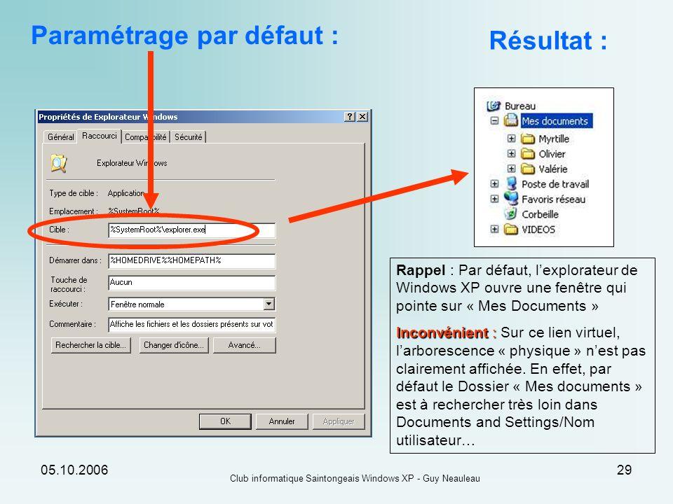 05.10.2006 Club informatique Saintongeais Windows XP - Guy Neauleau 29 Paramétrage par défaut : Résultat : Rappel : Par défaut, lexplorateur de Window