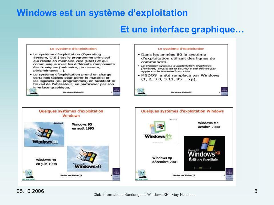 05.10.2006 Club informatique Saintongeais Windows XP - Guy Neauleau 14 La zone des tâches : Elle contient les boutons des programmes actifs « iconisés » et permet de passer simplement de lun à lautre.