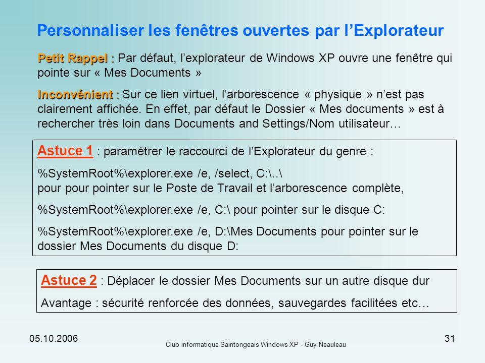 05.10.2006 Club informatique Saintongeais Windows XP - Guy Neauleau 31 Personnaliser les fenêtres ouvertes par lExplorateur Petit Rappel : Petit Rappe
