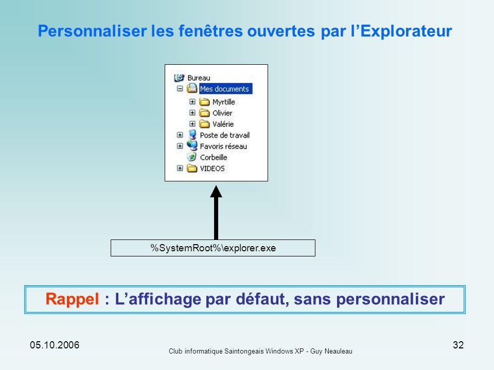 05.10.2006 Club informatique Saintongeais Windows XP - Guy Neauleau 32 %SystemRoot%\explorer.exe Rappel : Laffichage par défaut, sans personnaliser Pe