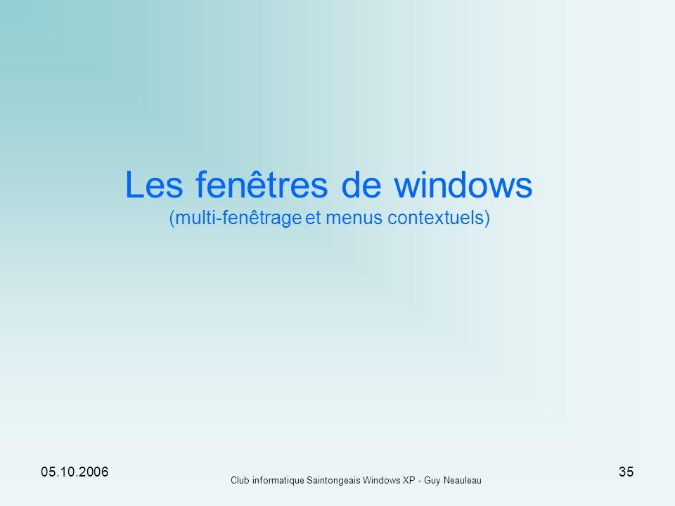 05.10.2006 Club informatique Saintongeais Windows XP - Guy Neauleau 35 Les fenêtres de windows (multi-fenêtrage et menus contextuels)