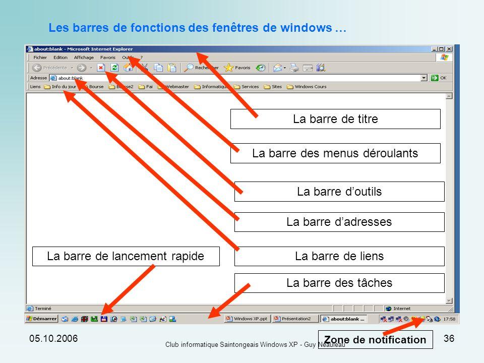 05.10.2006 Club informatique Saintongeais Windows XP - Guy Neauleau 36 Les barres de fonctions des fenêtres de windows … La barre de titre La barre de