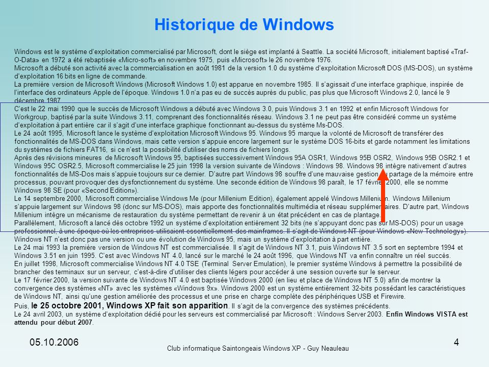 05.10.2006 Club informatique Saintongeais Windows XP - Guy Neauleau 4 Windows est le système d'exploitation commercialisé par Microsoft, dont le siège
