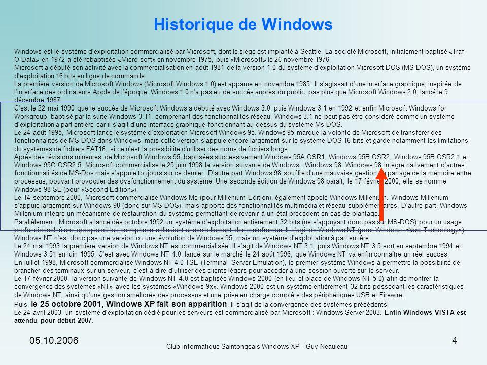 05.10.2006 Club informatique Saintongeais Windows XP - Guy Neauleau 55 Windows XP est multi-utilisateurs Comment créer un compte utilisateur sous Windows XP .