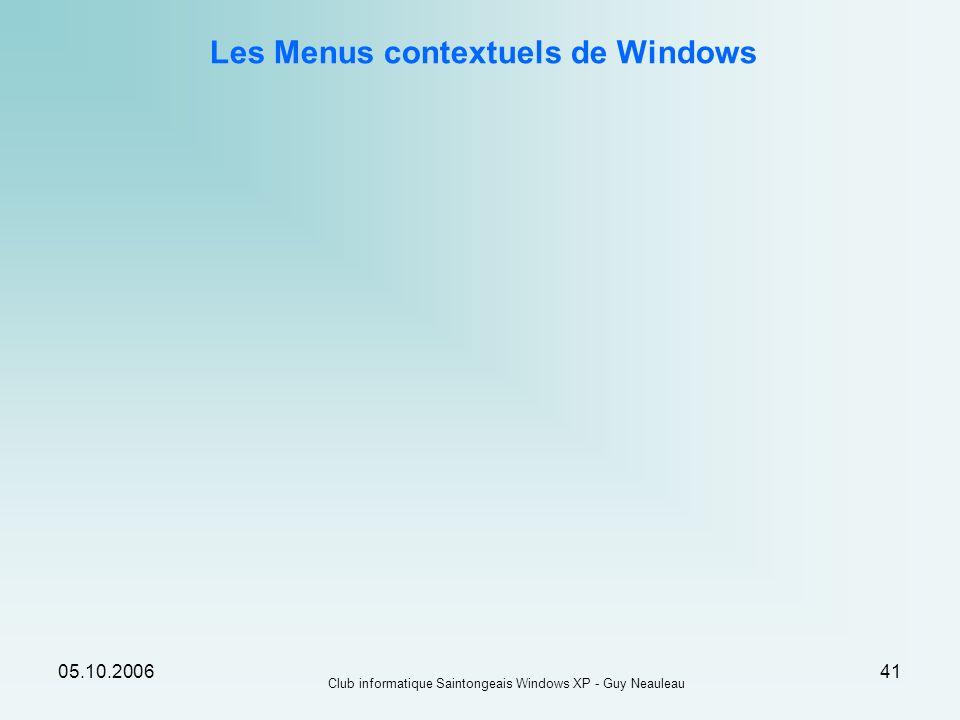 05.10.2006 Club informatique Saintongeais Windows XP - Guy Neauleau 41 Les Menus contextuels de Windows