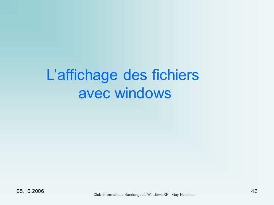 05.10.2006 Club informatique Saintongeais Windows XP - Guy Neauleau 42 Laffichage des fichiers avec windows