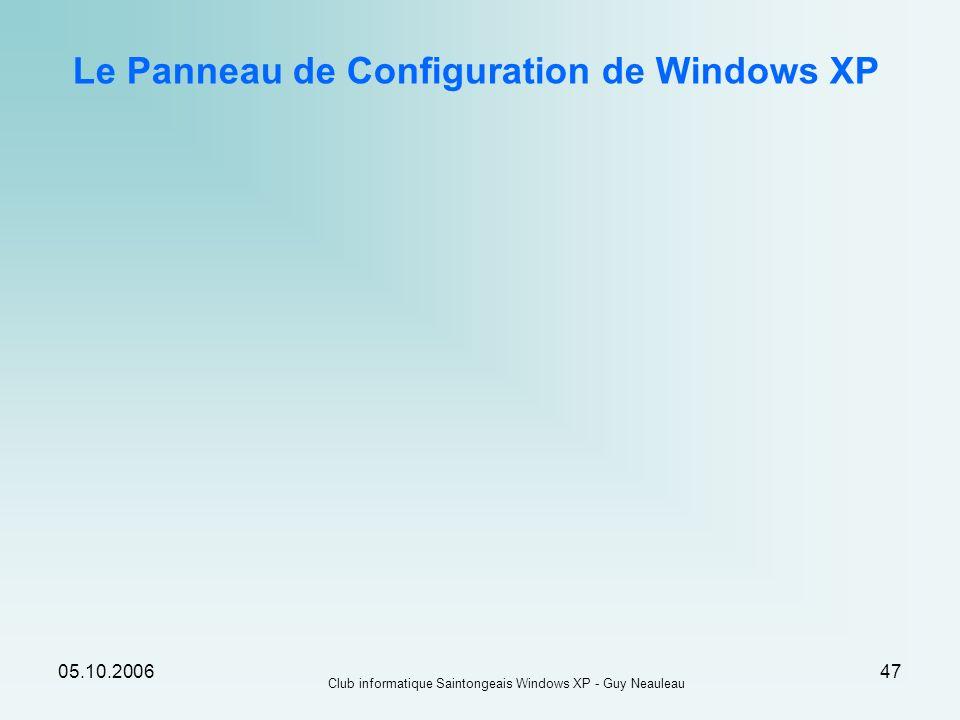 05.10.2006 Club informatique Saintongeais Windows XP - Guy Neauleau 47 Le Panneau de Configuration de Windows XP