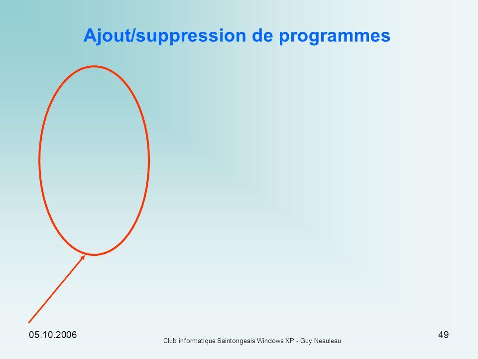 05.10.2006 Club informatique Saintongeais Windows XP - Guy Neauleau 49 Ajout/suppression de programmes