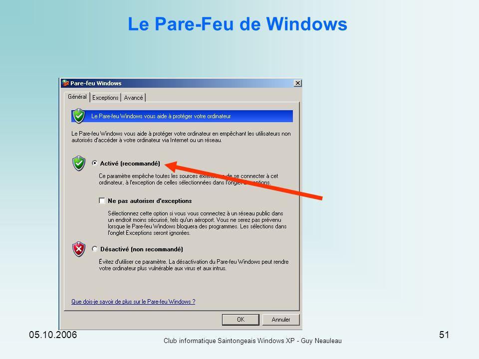 05.10.2006 Club informatique Saintongeais Windows XP - Guy Neauleau 51 Le Pare-Feu de Windows