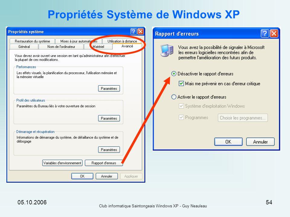 05.10.2006 Club informatique Saintongeais Windows XP - Guy Neauleau 54 Propriétés Système de Windows XP