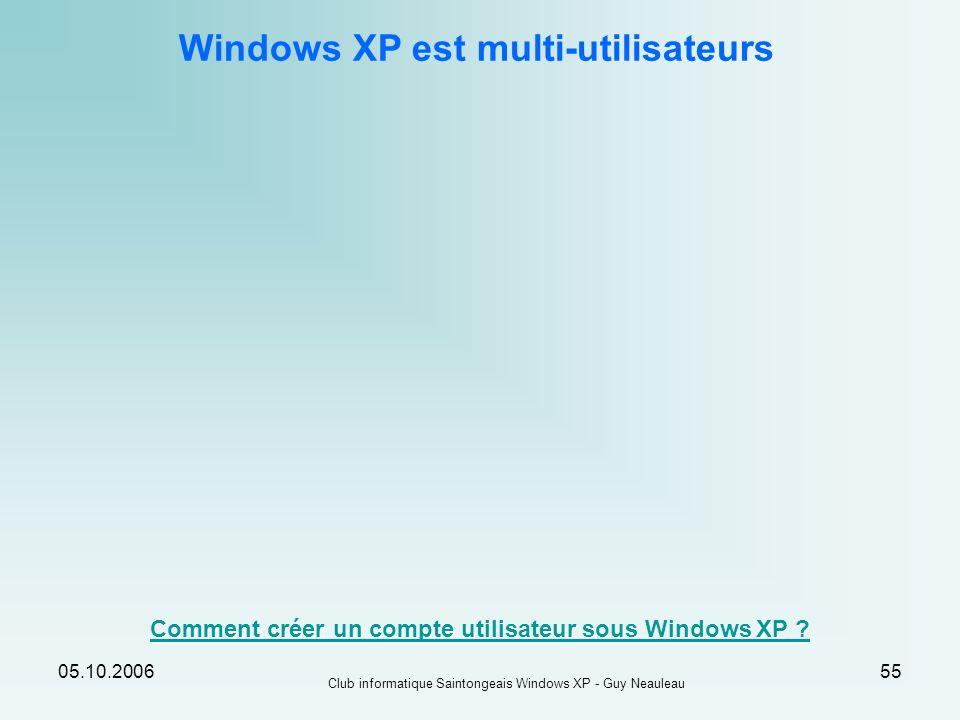 05.10.2006 Club informatique Saintongeais Windows XP - Guy Neauleau 55 Windows XP est multi-utilisateurs Comment créer un compte utilisateur sous Wind