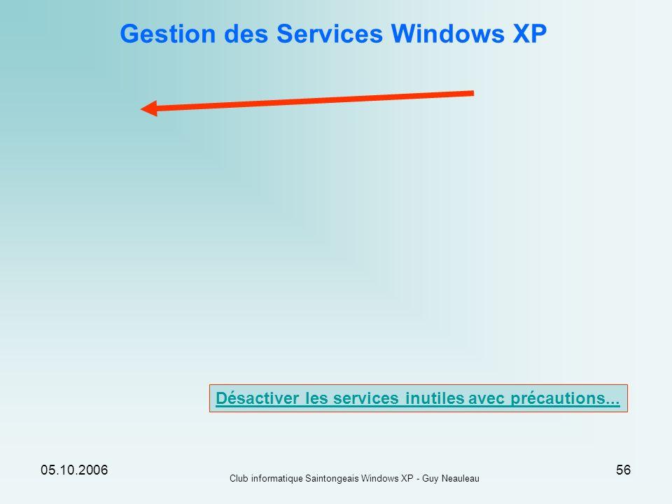 05.10.2006 Club informatique Saintongeais Windows XP - Guy Neauleau 56 Gestion des Services Windows XP Désactiver les services inutiles avec précautio