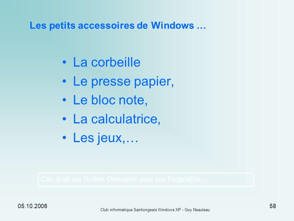 05.10.2006 Club informatique Saintongeais Windows XP - Guy Neauleau 58 Les petits accessoires de Windows … Clic droit sur licône Démarrer puis sur Pro