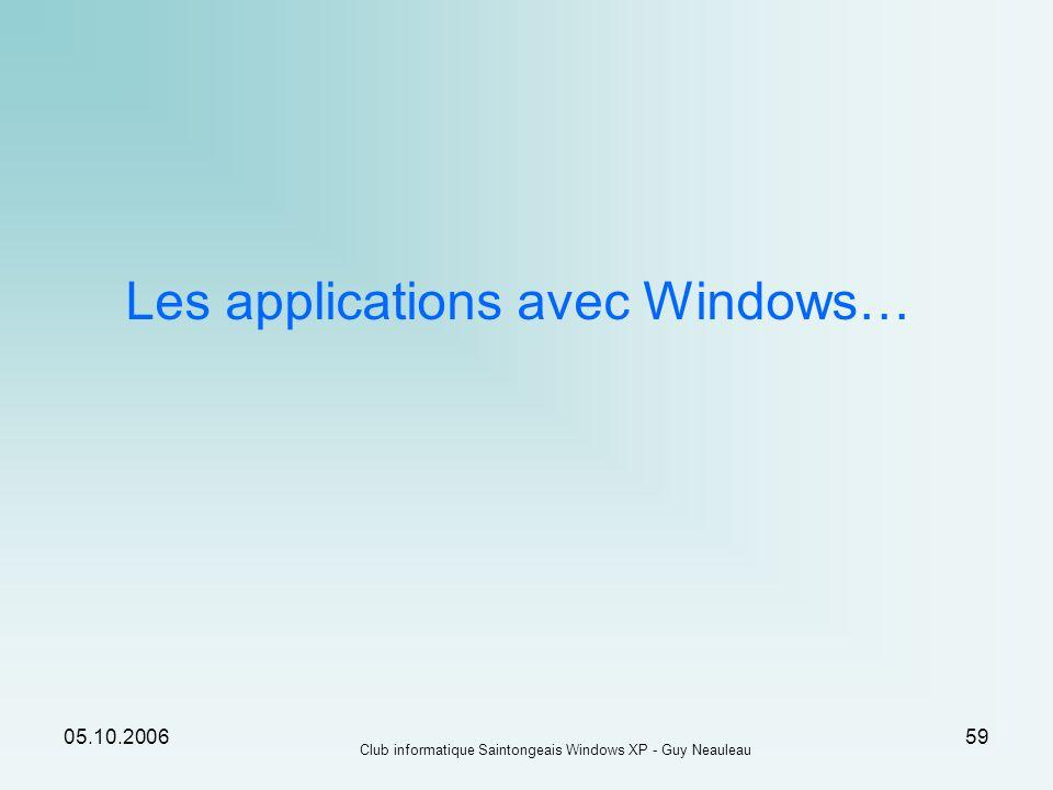05.10.2006 Club informatique Saintongeais Windows XP - Guy Neauleau 59 Les applications avec Windows…