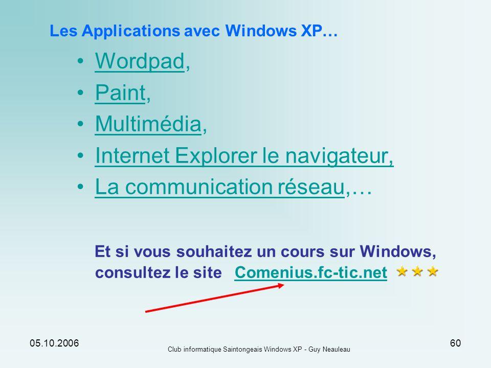05.10.2006 Club informatique Saintongeais Windows XP - Guy Neauleau 60 Les Applications avec Windows XP… Wordpad,Wordpad Paint,Paint Multimédia,Multim