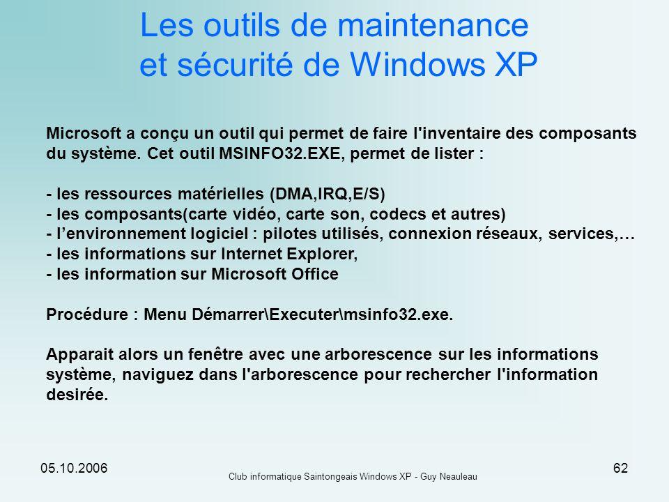 05.10.2006 Club informatique Saintongeais Windows XP - Guy Neauleau 62 Les outils de maintenance et sécurité de Windows XP Microsoft a conçu un outil