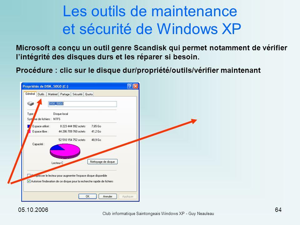05.10.2006 Club informatique Saintongeais Windows XP - Guy Neauleau 64 Les outils de maintenance et sécurité de Windows XP Microsoft a conçu un outil