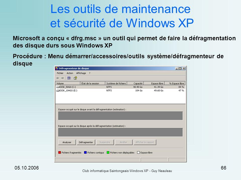 05.10.2006 Club informatique Saintongeais Windows XP - Guy Neauleau 66 Les outils de maintenance et sécurité de Windows XP Microsoft a conçu « dfrg.ms