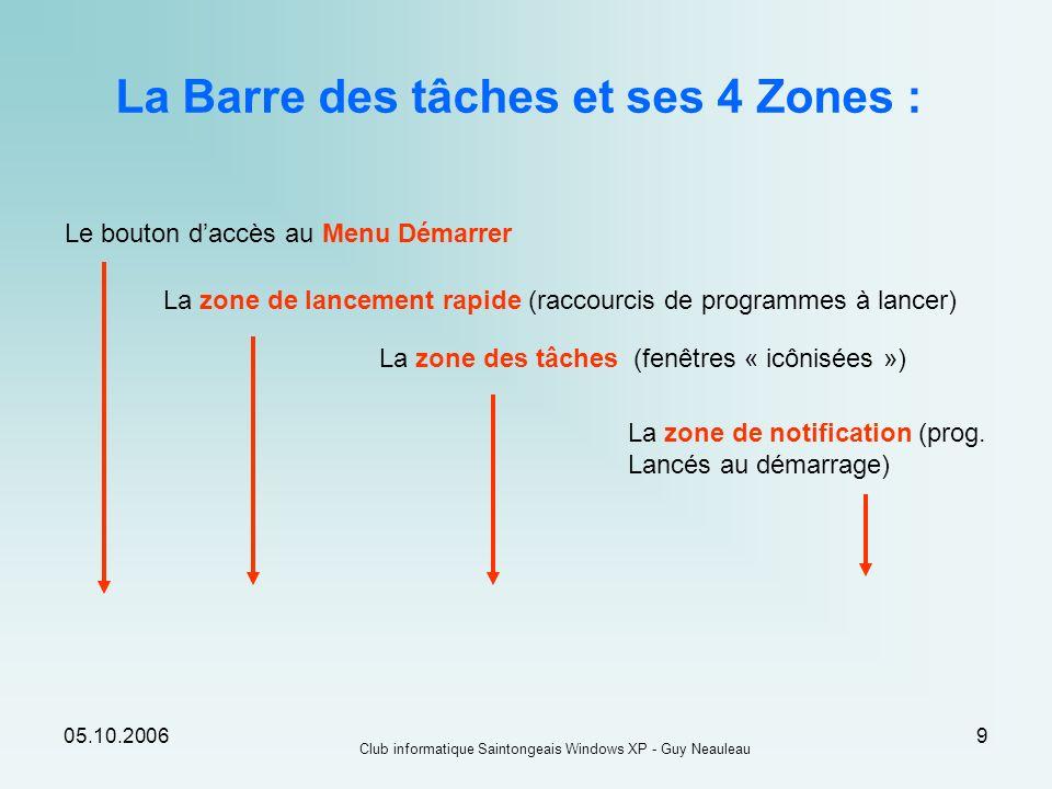 05.10.2006 Club informatique Saintongeais Windows XP - Guy Neauleau 9 La Barre des tâches et ses 4 Zones : Le bouton daccès au Menu Démarrer La zone d