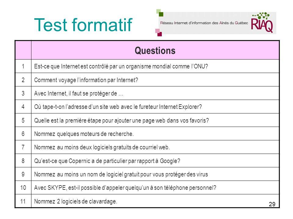 29 Test formatif Questions 1Est-ce que Internet est contrôlé par un organisme mondial comme lONU.