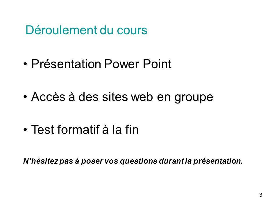 3 Déroulement du cours Présentation Power Point Accès à des sites web en groupe Test formatif à la fin Nhésitez pas à poser vos questions durant la présentation.