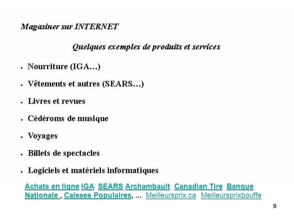 99 Achats en ligneAchats en ligne IGA SEARS Archambault Canadian Tire Banque Nationale, Caisses Populaires,...