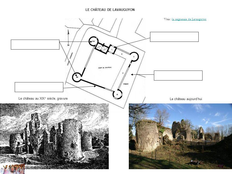 LE CHÂTEAU DE LAVAUGUYON Le château aujourdhui Le château au XIX° siècle, gravure Voir : la seigneurie de Lavauguyonla seigneurie de Lavauguyon
