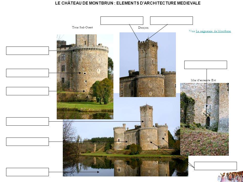 Tour Sud-Ouest Donjon Mur denceinte Est LE CHÂTEAU DE MONTBRUN : ELEMENTS DARCHITECTURE MEDIEVALE Voir La seigneurie de MontbrunLa seigneurie de Montb