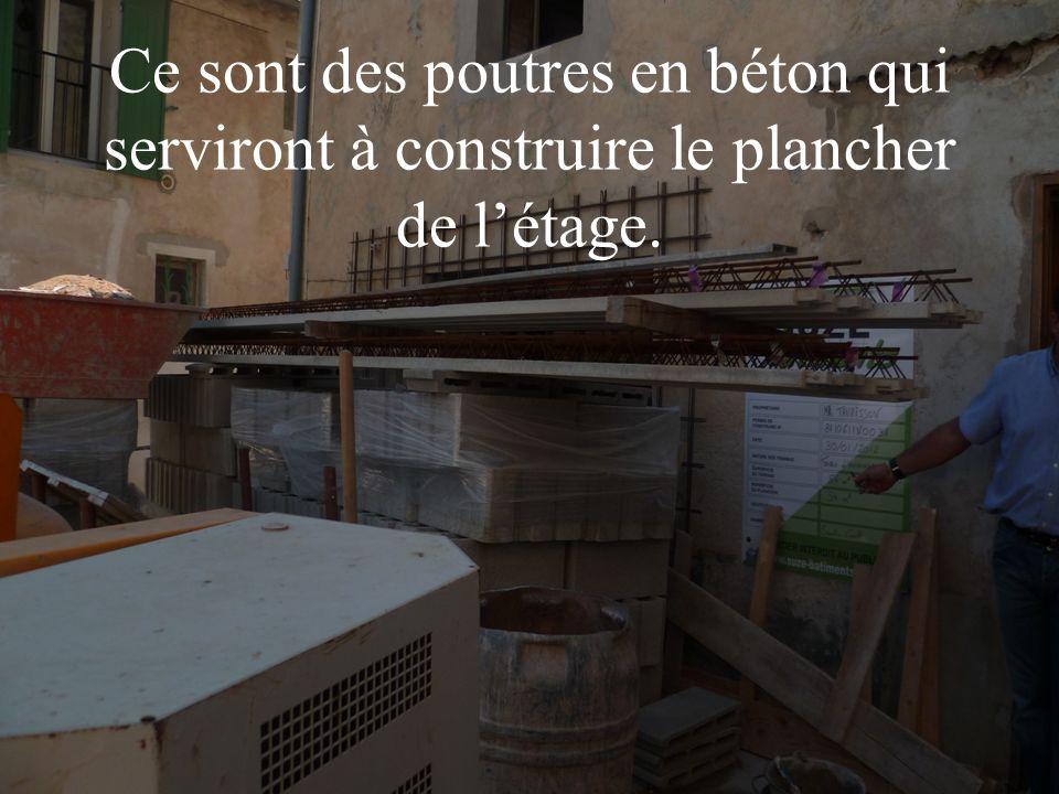 Ce sont des poutres en béton qui serviront à construire le plancher de létage.