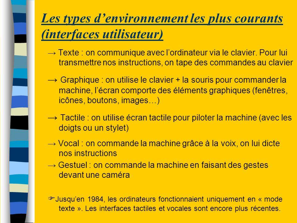 Les types denvironnement les plus courants (interfaces utilisateur) Texte : on communique avec lordinateur via le clavier. Pour lui transmettre nos in
