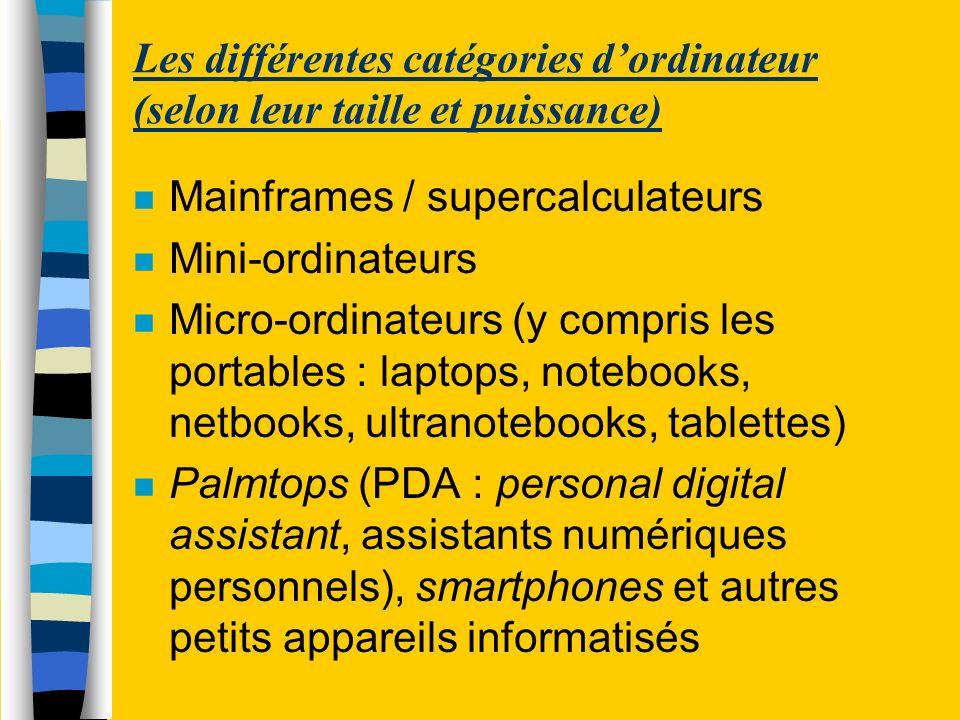 Les différentes catégories dordinateur (selon leur taille et puissance) n Mainframes / supercalculateurs n Mini-ordinateurs n Micro-ordinateurs (y com