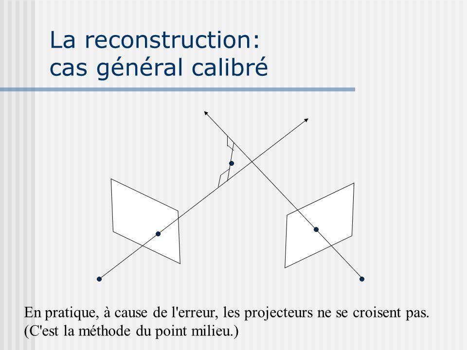 La reconstruction: cas général calibré En pratique, à cause de l'erreur, les projecteurs ne se croisent pas. (C'est la méthode du point milieu.)