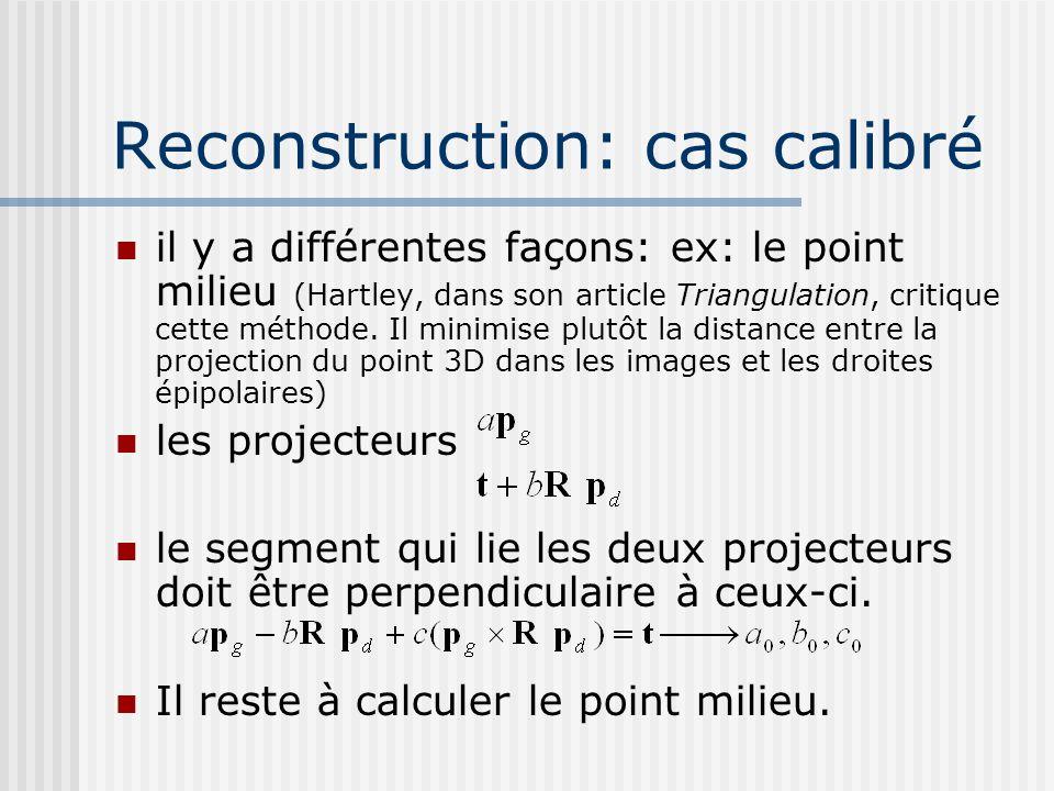 Liste des méthodes méthode du point milieu approche algébrique on écrit le système linéaire (équations de 4 plans + 3 inc.) on cherche le point 3D qui minimise la distance aux 4 plans minimisation de lerreur de reprojection (bundle adjustment) on cherche le point 3D tel que sa projection dans chacune des images est près des points image observés rectifier la paire et appliquer le calcul avec la disparité