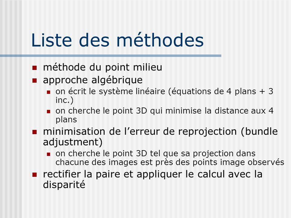 Liste des méthodes méthode du point milieu approche algébrique on écrit le système linéaire (équations de 4 plans + 3 inc.) on cherche le point 3D qui
