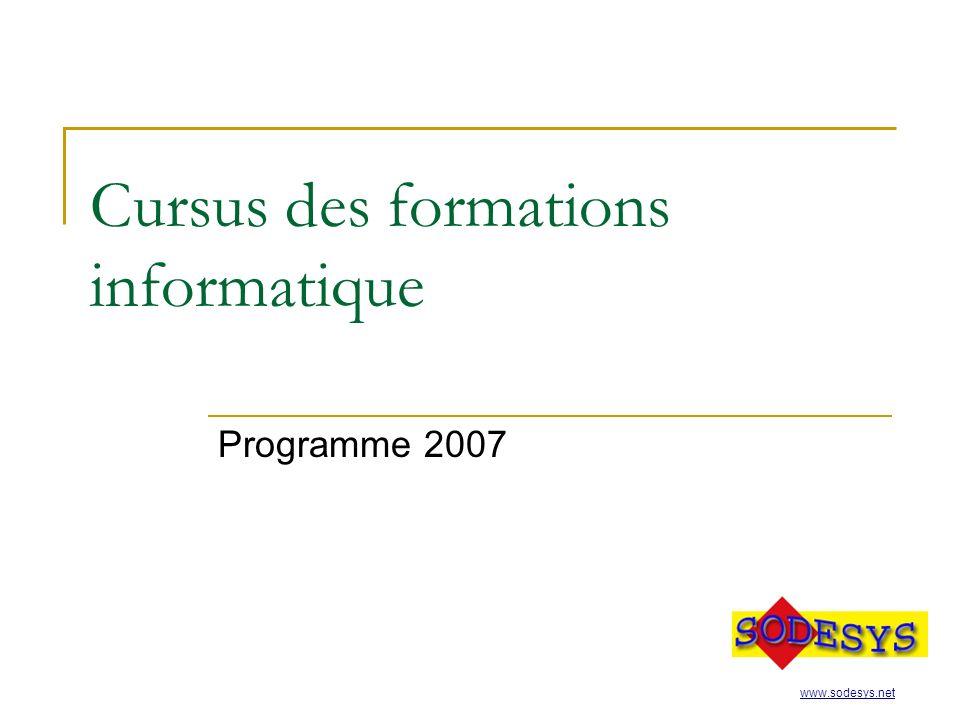 Cursus des formations informatique Programme 2007 www.sodesys.net
