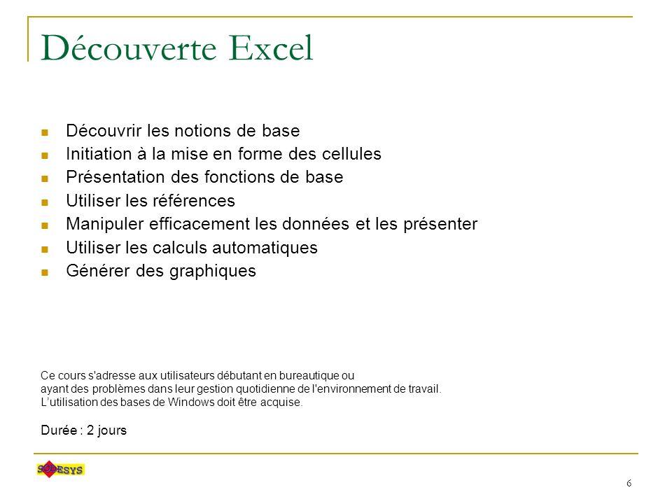 7 Découverte ACCESS Découvrir les notions de base Manipuler les données Concevoir la structure dune base de données Contrôler la cohérence des données Concevoir des requêtes simples Interfacer les données Lutilisation des bases de Windows et Excel doivent être acquises.