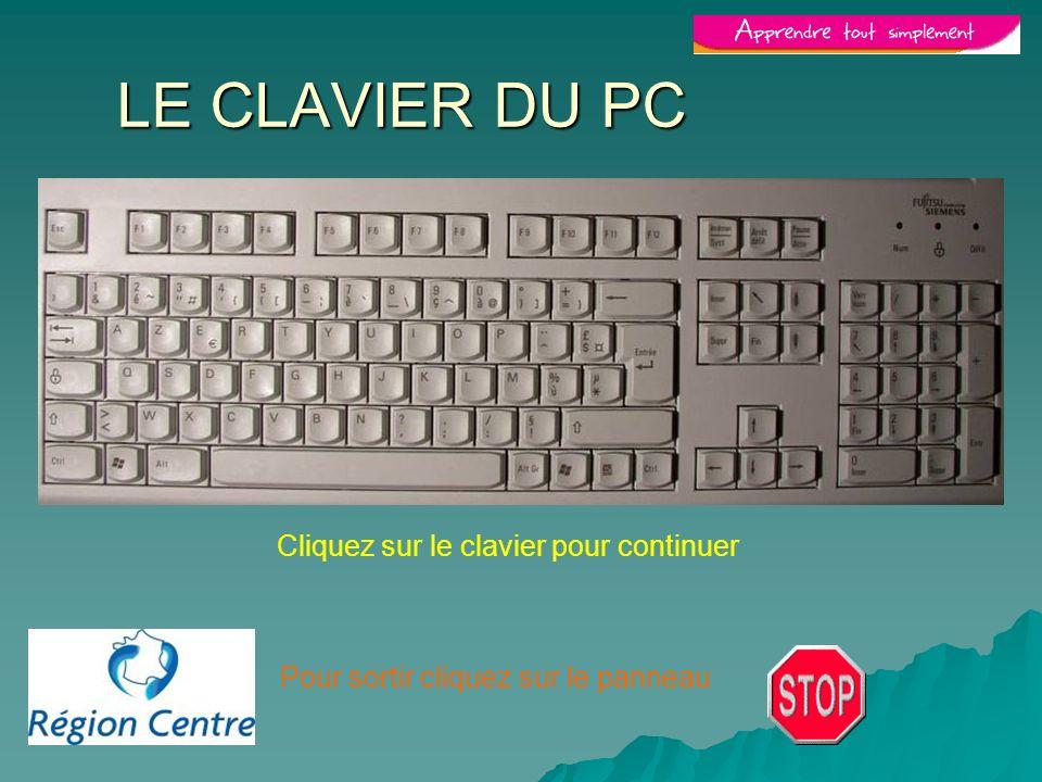 Pour sortir cliquez sur le panneau LE CLAVIER DU PC Cliquez sur le clavier pour continuer