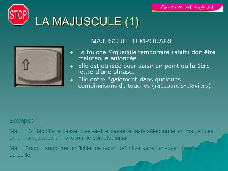 LA MAJUSCULE (1) La touche Majuscule temporaire (shift) doit être maintenue enfoncée. Elle est utilisée pour saisir un point ou la 1ère lettre dune ph