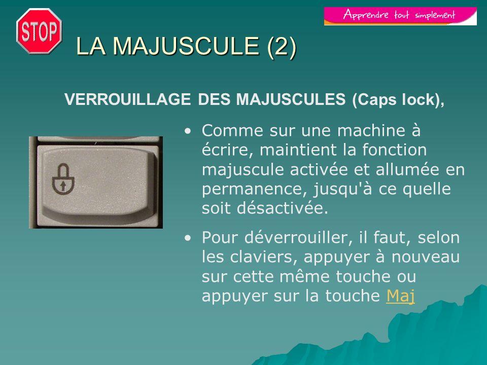 LA MAJUSCULE (2) Comme sur une machine à écrire, maintient la fonction majuscule activée et allumée en permanence, jusqu'à ce quelle soit désactivée.