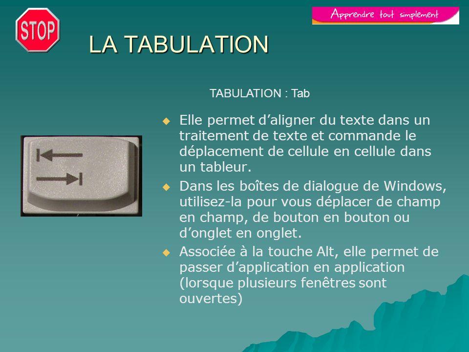LA TABULATION Elle permet daligner du texte dans un traitement de texte et commande le déplacement de cellule en cellule dans un tableur. Dans les boî