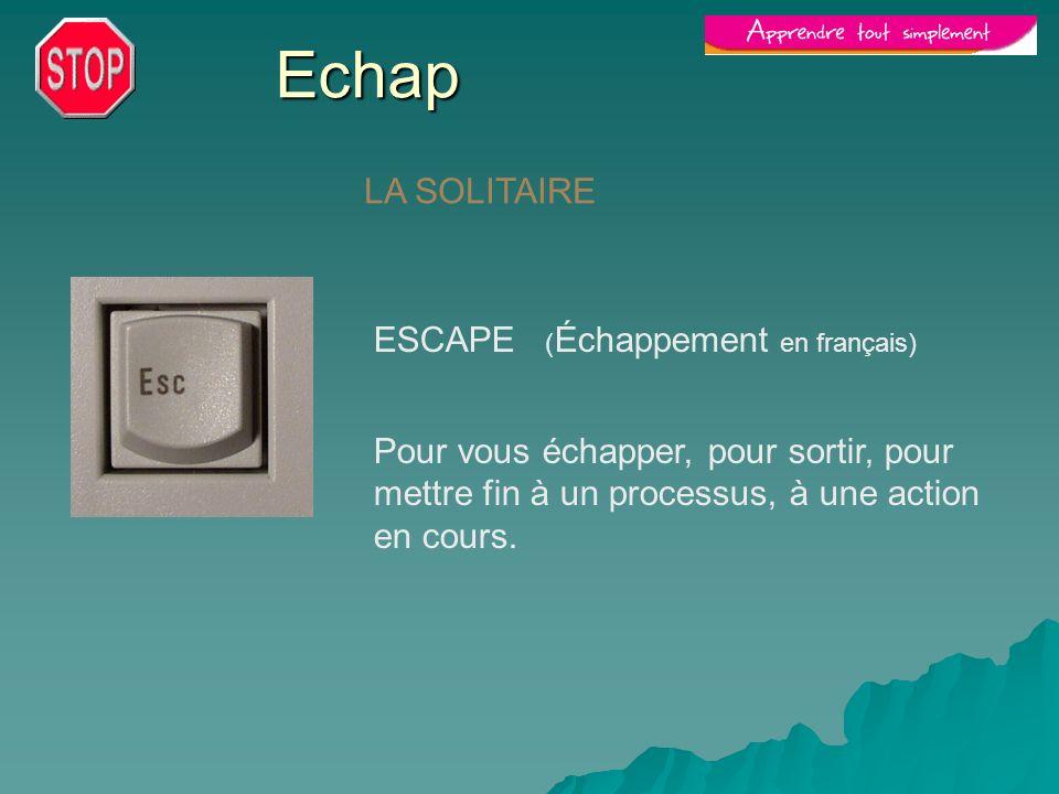 Echap LA SOLITAIRE ESCAPE ( Échappement en français) Pour vous échapper, pour sortir, pour mettre fin à un processus, à une action en cours.