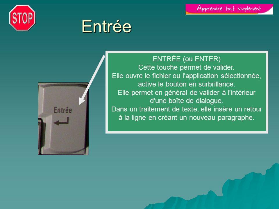 Entrée ENTRÉE (ou ENTER) Cette touche permet de valider. Elle ouvre le fichier ou lapplication sélectionnée, active le bouton en surbrillance. Elle pe