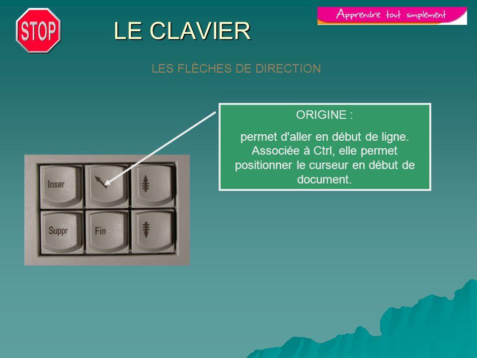 LE CLAVIER LES FLÈCHES DE DIRECTION ORIGINE : permet d'aller en début de ligne. Associée à Ctrl, elle permet positionner le curseur en début de docume
