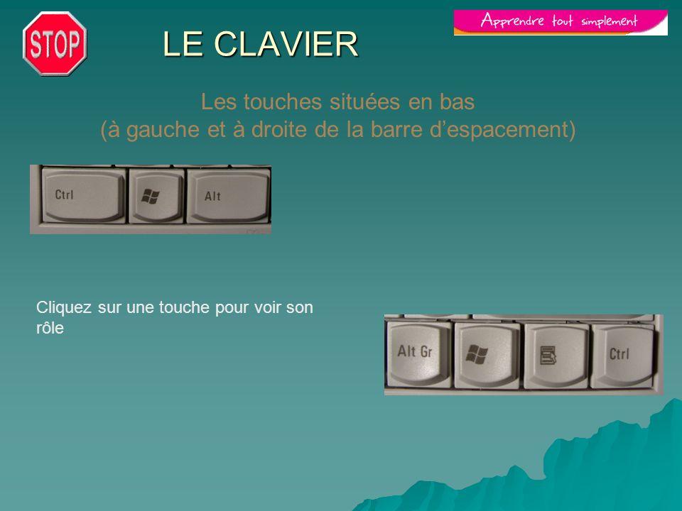 LE CLAVIER Les touches situées en bas (à gauche et à droite de la barre despacement) Cliquez sur une touche pour voir son rôle