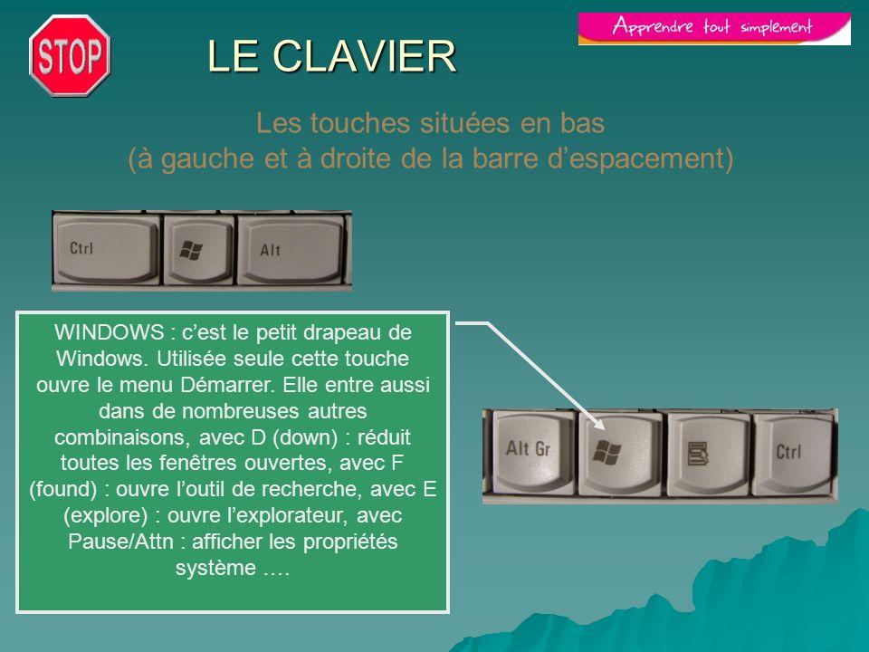 LE CLAVIER Les touches situées en bas (à gauche et à droite de la barre despacement) WINDOWS : cest le petit drapeau de Windows. Utilisée seule cette