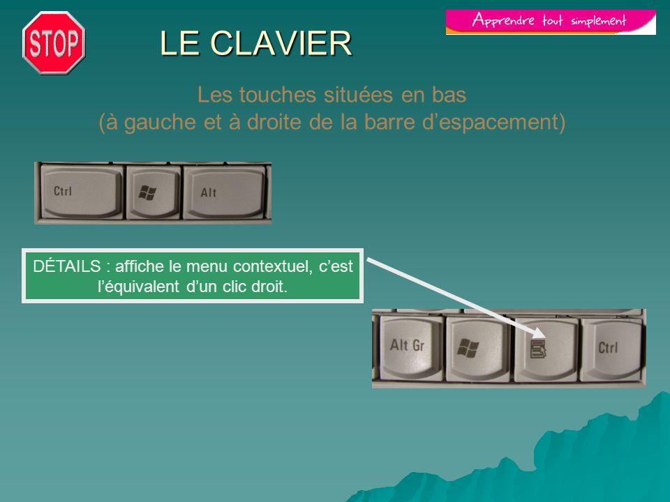 LE CLAVIER Les touches situées en bas (à gauche et à droite de la barre despacement) DÉTAILS : affiche le menu contextuel, cest léquivalent dun clic d