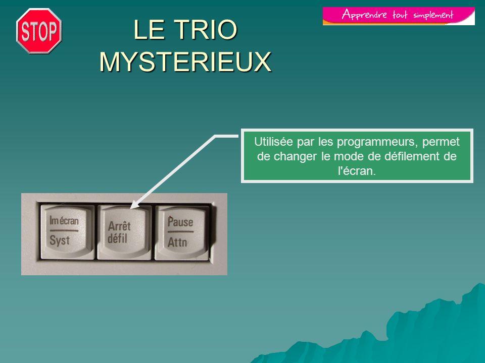 LE TRIO MYSTERIEUX Utilisée par les programmeurs, permet de changer le mode de défilement de l'écran.