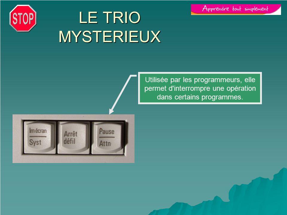 Utilisée par les programmeurs, elle permet d'interrompre une opération dans certains programmes. LE TRIO MYSTERIEUX
