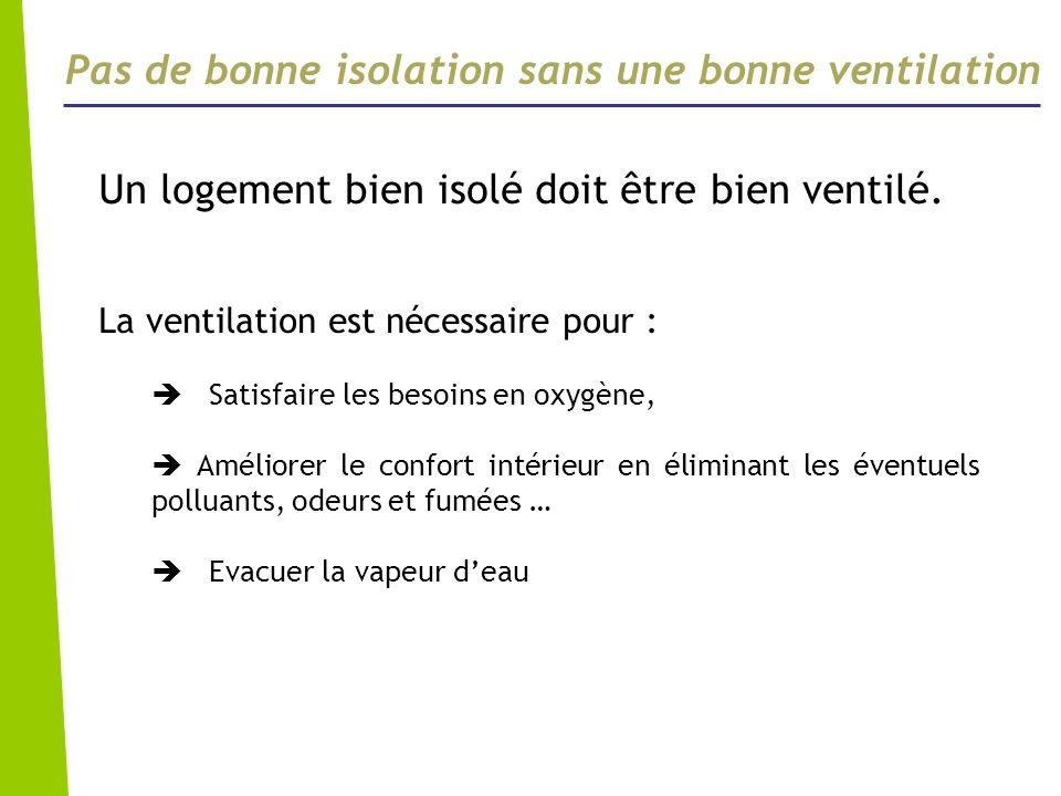 Pas de bonne isolation sans une bonne ventilation Un logement bien isolé doit être bien ventilé. La ventilation est nécessaire pour : Satisfaire les b